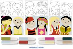 Set de 3 cartes sable assorties PORTRAITS DU MONDE + 8 tubes de sable, couleurs assorties