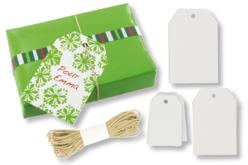 Set de 30 tags étiquettes en carte forte blanche + cordelette naturelle