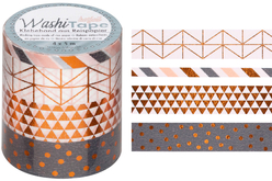 Masking tape géométriques - 4 rouleaux motifs métallisés - Rubans adhésifs et Masking tape – 10doigts.fr