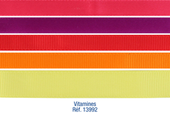 Set de 5 rubans Vitamines, couleurs assorties