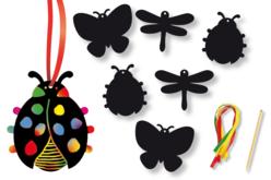 Set de 6 insectes en carte à gratter + 3 grattoirs + 6 rubans