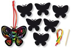 Papillons en carte à gratter + 3 grattoirs + 6 rubans - Lot de 6 - Cartes à gratter – 10doigts.fr