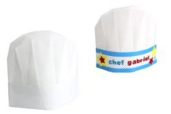 Set de 6 toques de chef en non tissé blanc - taille enfant ajustable