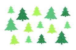 Set de 60 stickers sapin caoutchouc mousse pailleté