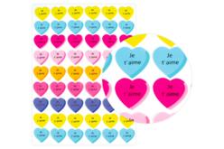 """Gommettes cœur """"Je t'aime"""" - 54 pièces - Coeurs autocollants – 10doigts.fr"""