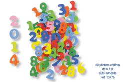 Stickers chiffres en caoutchouc - 80 pièces - Stickers en caoutchouc souple – 10doigts.fr