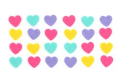 Stickers cœurs en feutrine couleurs assorties - Formes en Feutrine Autocollante – 10doigts.fr