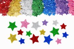 Stickers étoiles en caoutchouc pailleté - Set de 500 - Formes en Mousse autocollante – 10doigts.fr
