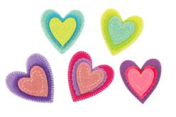 Stickers coeurs en feutrine - Set de 10 - Stickers en feutrine – 10doigts.fr