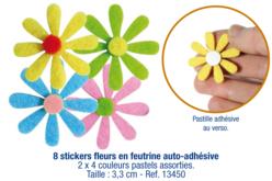 Stickers fleurs en feutrine auto-adhésive - Stickers en feutrine – 10doigts.fr