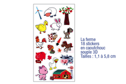 Stickers la ferme 3D, en caoutchouc souple  - Stickers en caoutchouc souple – 10doigts.fr