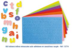 Stickers lettres minuscules en caoutchouc souple auto-adhésif
