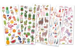 Stickers tendances avec effets pailletés - Set de 129 stickers (5 planches) - Stickers Fantaisies – 10doigts.fr
