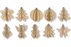 Suspensions 3D en bois naturel