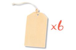Étiquettes en bois avec cordon et perle - Lot de 6 - Divers – 10doigts.fr