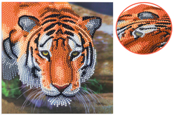 Broderie diamant Tigre - Carte 18 x 18 cm - Broderie Diamant – 10doigts.fr
