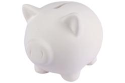 Tirelire cochon en terre cuite blanche - Supports en Céramique et Porcelaine – 10doigts.fr