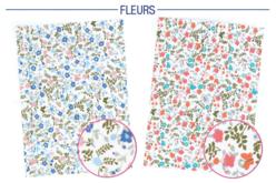 Tissus adhésifs FLEURS sur fond blanc - Tissus – 10doigts.fr