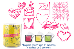 "Tubo de 10 tampons ""HisEn plein coeur"" + cadeau de 3 encreurs"