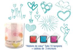 """Tubo de 10 tampons """"Histoire de coeur"""" + cadeau de 3 encreurs"""