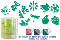 """Tampons """"Le bonheur est dans le pré"""" - 10 tampons + 3 encreurs - Tampons – 10doigts.fr"""