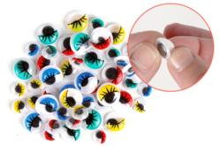 Yeux mobiles adhésifs colorés avec cils - 48 pièces - Yeux mobiles – 10doigts.fr