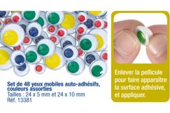 Yeux mobiles auto-adhésifs ronds couleurs et diamètres assortis