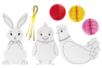 Suspensions de Pâques - Lapin, poussin et poule - Coloriages – 10doigts.fr