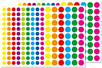 Petites gommettes rondes vives - 2 planches - Toutes les gommettes géométriques - 10doigts.fr