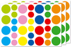 Maxi gommettes rondes - 3 planches - Toutes les gommettes géométriques - 10doigts.fr