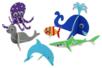 Animaux marins 3D en carton mousse à décorer - Set de 6 - Maquettes en papier – 10doigts.fr