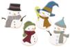 Bonhommes de neige en bois décoré - Set de 8 - Motifs peint - 10doigts.fr