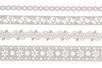 Dentelle adhésive en papier - 4 rouleaux Blancs assortis - Rubans adhésifs et Masking tape – 10doigts.fr