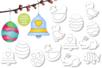 Suspensions de Pâques à colorier  - Set de 13 - Coloriages – 10doigts.fr