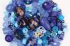 Perles artisanales en verre - camaïeux de bleus - Perles en verre - 10doigts.fr