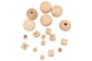 Perles assorties en bois naturel - 18 perles - Perles en bois - 10doigts.fr