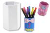 Pots à crayons héxagonaux en carton fort blanc - Pots, vases, paniers, sacs - 10doigts.fr