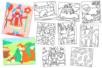 Cartes sable assorties - 10 motifs assortis - Sable coloré - 10doigts.fr