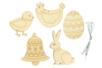 Formes de Pâques en bois gravé - Set de 5 - Kits activités Pâques – 10doigts.fr