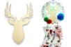 Tête de cerf bois 19 cm - Motifs brut – 10doigts.fr