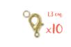 10 fermoirs carabine 1,3 cm dorés, avec anneau  - Fermoirs 03382 - 10doigts.fr