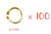 100 anneaux simples dorés ø 5 mm - Anneaux simples ou doubles, ronds ou ovales - 10doigts.fr