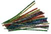 Chenilles métallisées multi couleurs :  or, argent, rouge, vert, bleu, rose  - 100 pièces - Chenilles, cure-pipe 04521 - 10doigts.fr