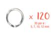 Anneaux ronds argentés (30 par ø : 5, 7, 10, 12 mm) - 120 pcs - Anneaux simples ou doubles, ronds ou ovales 11816 - 10doigts.fr