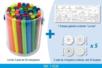 """Lot de 3 pots de 50 marqueurs économiques grosses pointes  + cadeau d'une fresque à colorier """"La Mer"""" + 5 sets de 4 toupies à colorier - Vive l'été ! 11638 - 10doigts.fr"""