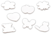 Blocs-notes fantaisie 7,5 cm - 7 formes assorties - Support blanc 10285 - 10doigts.fr