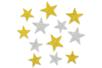 72 Etoiles adhésives caoutchouc mousse or, arg. pailleté  - Stickers en caoutchouc souple - 10doigts.fr