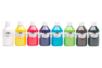 Acryl Brillant 80 ml - set de 8 couleurs essentielles : blanc, jaune, rouge, violet, bleu clair, vert clair, marron, noir - Acryliques scolaire 31101 - 10doigts.fr