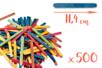 Bâtons d'esquimaux colorés (11,4 cm) - 500 pces - Bâtonnets, tiges, languettes 05891 - 10doigts.fr