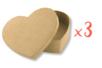 Boîtes cœur 13 x 10 cm - H : 3,5 cm - Lot de 3 - Boîtes 11997 - 10doigts.fr